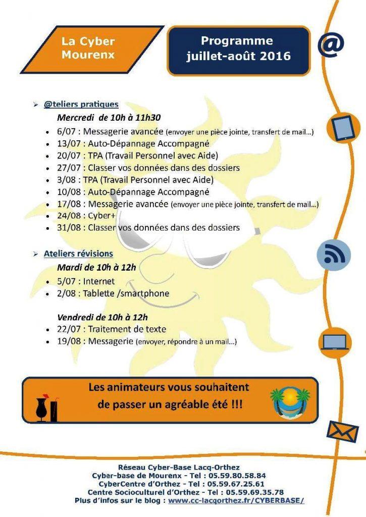 La Cyber - Programme_juillet_août_2016