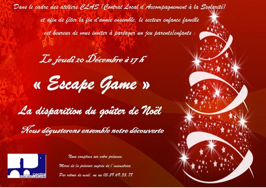 INVITATION NOEL 2018 ESCAPE GAME